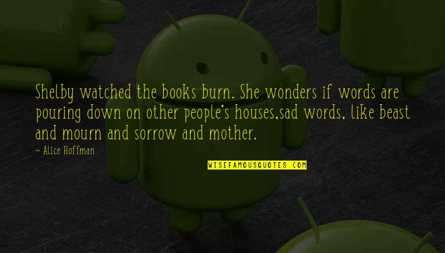 She's Sad Quotes By Alice Hoffman: Shelby watched the books burn. She wonders if