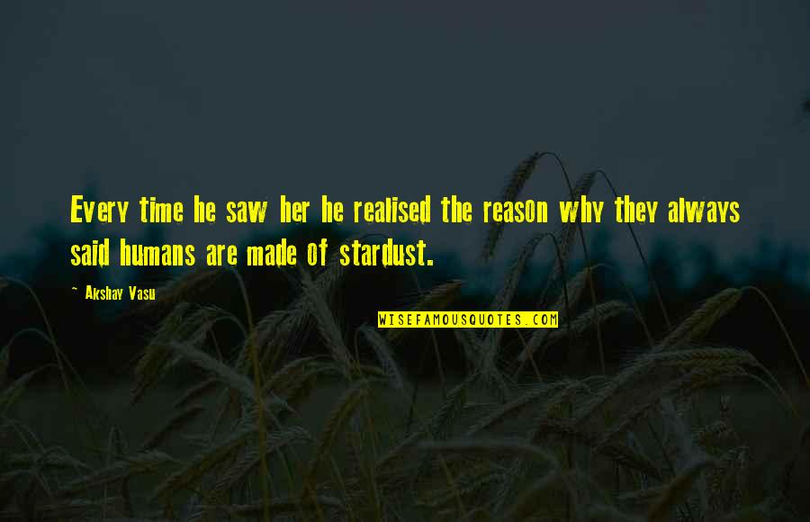 She's The Reason Why Quotes By Akshay Vasu: Every time he saw her he realised the