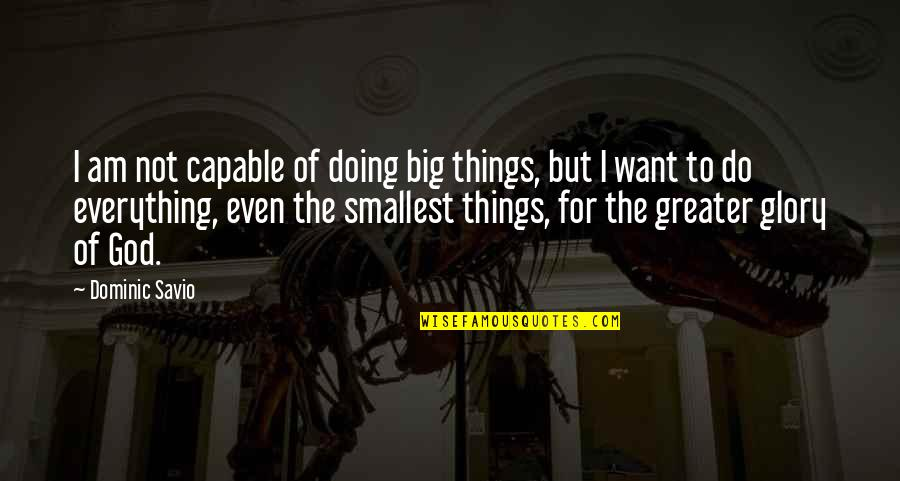 Shifting The Monkey Quotes By Dominic Savio: I am not capable of doing big things,