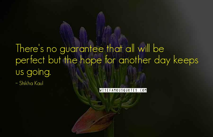 Shikha Kaul quotes: There's no guarantee that all will be perfect but the hope for another day keeps us going.