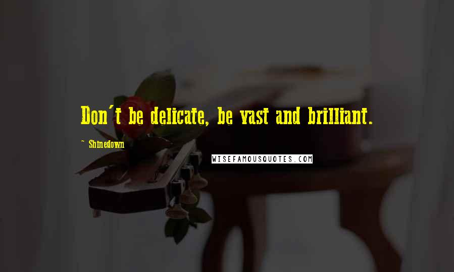 Shinedown quotes: Don't be delicate, be vast and brilliant.