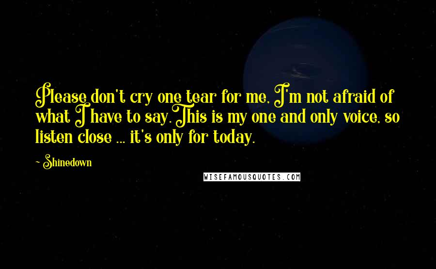 Shinedown quotes: Please don't cry one tear for me, I'm not afraid of what I have to say.This is my one and only voice, so listen close ... it's only for today.