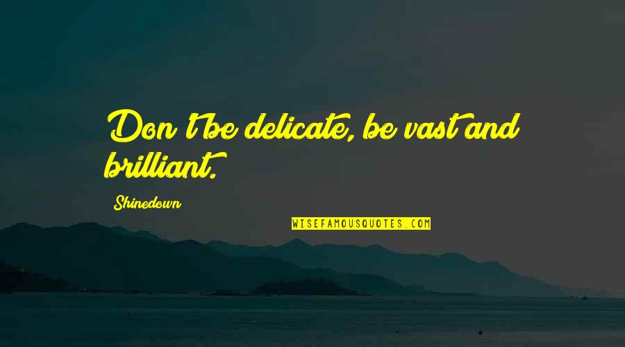 Shinedown Quotes By Shinedown: Don't be delicate, be vast and brilliant.