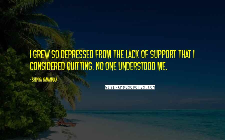 Shinya Yamanaka quotes: I grew so depressed from the lack of support that I considered quitting. No one understood me.