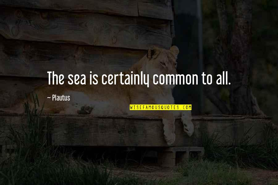 Ships And The Sea Quotes By Plautus: The sea is certainly common to all.