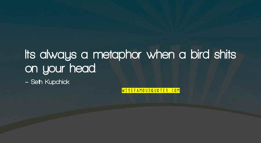 Shits Quotes By Seth Kupchick: It's always a metaphor when a bird shits
