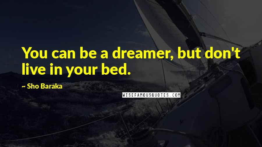 Sho Baraka quotes: You can be a dreamer, but don't live in your bed.