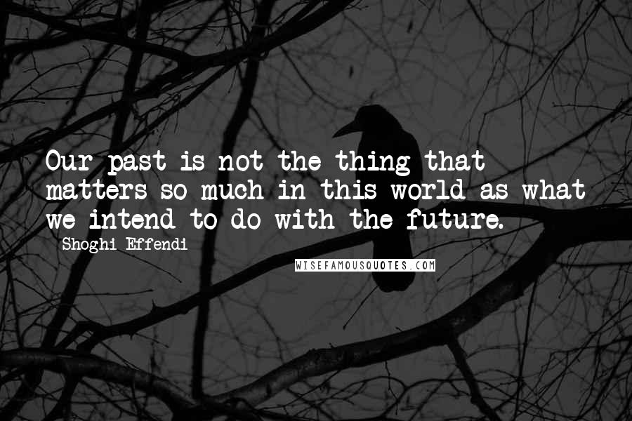 Shoghi Effendi quotes: Our past is not the thing that matters so much in this world as what we intend to do with the future.