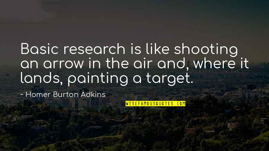 Shooting An Arrow Quotes By Homer Burton Adkins: Basic research is like shooting an arrow in