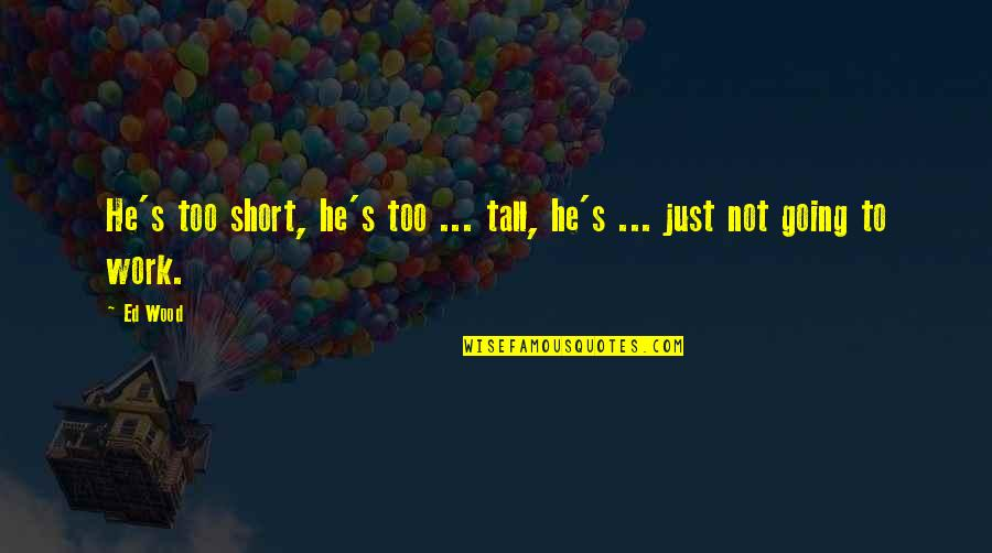 Short And Tall Quotes By Ed Wood: He's too short, he's too ... tall, he's