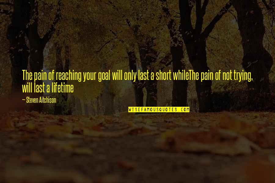 Short Inspirational Quotes By Steven Aitchison: The pain of reaching your goal will only