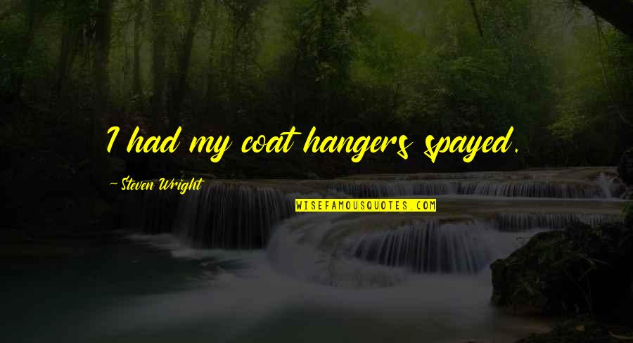 Short Outgoing Quotes By Steven Wright: I had my coat hangers spayed.