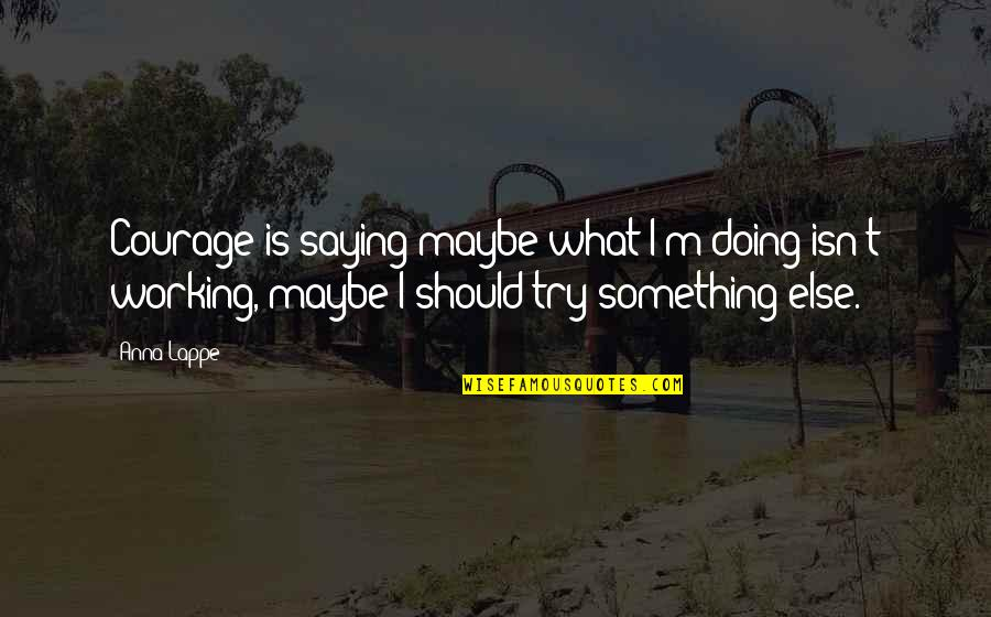 Should I Try Quotes By Anna Lappe: Courage is saying maybe what I'm doing isn't