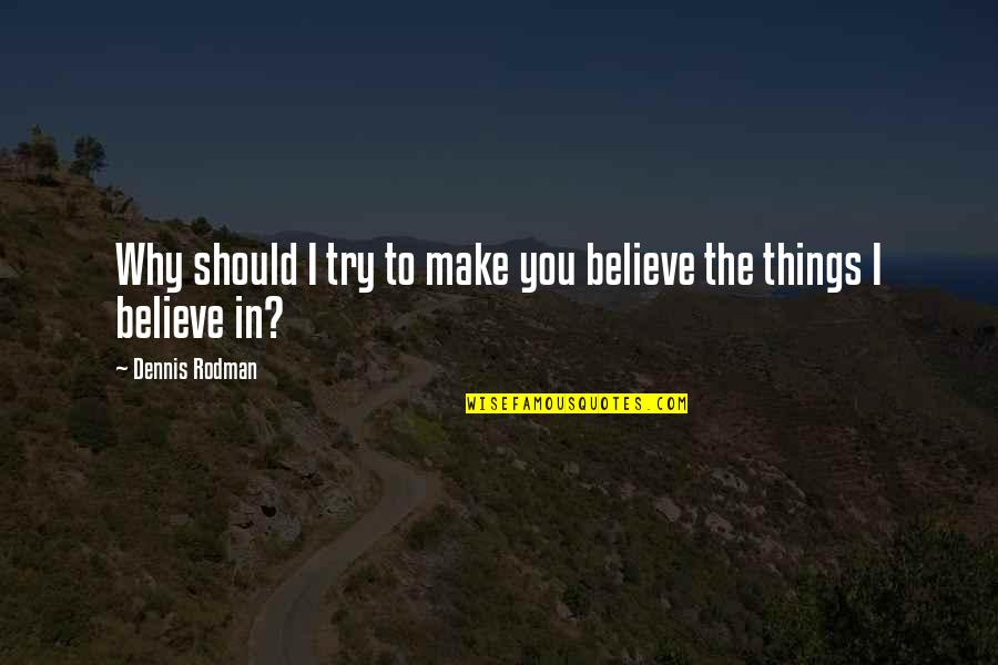 Should I Try Quotes By Dennis Rodman: Why should I try to make you believe