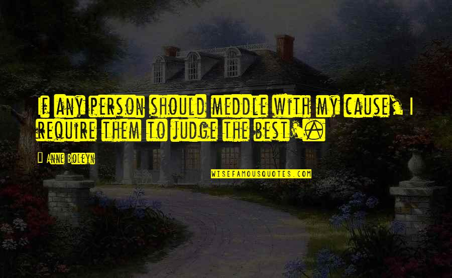 Should Not Judge Quotes By Anne Boleyn: If any person should meddle with my cause,