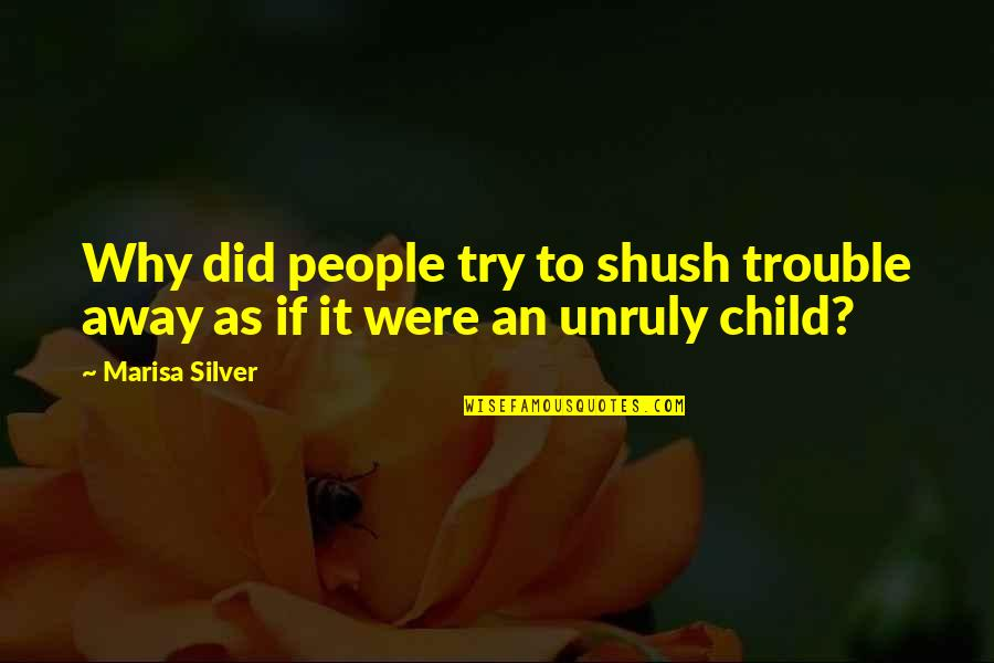 Shush Quotes By Marisa Silver: Why did people try to shush trouble away