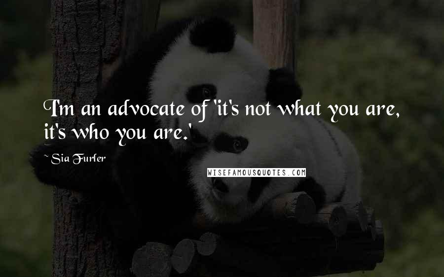 Sia Furler quotes: I'm an advocate of 'it's not what you are, it's who you are.'