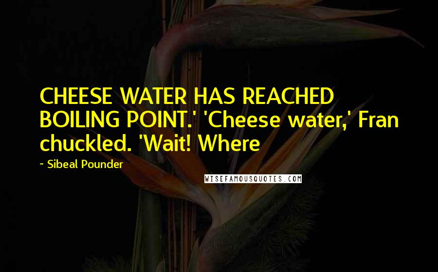 Sibeal Pounder quotes: CHEESE WATER HAS REACHED BOILING POINT.' 'Cheese water,' Fran chuckled. 'Wait! Where