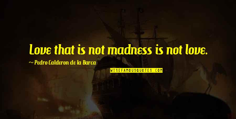 Sickest Quotes By Pedro Calderon De La Barca: Love that is not madness is not love.