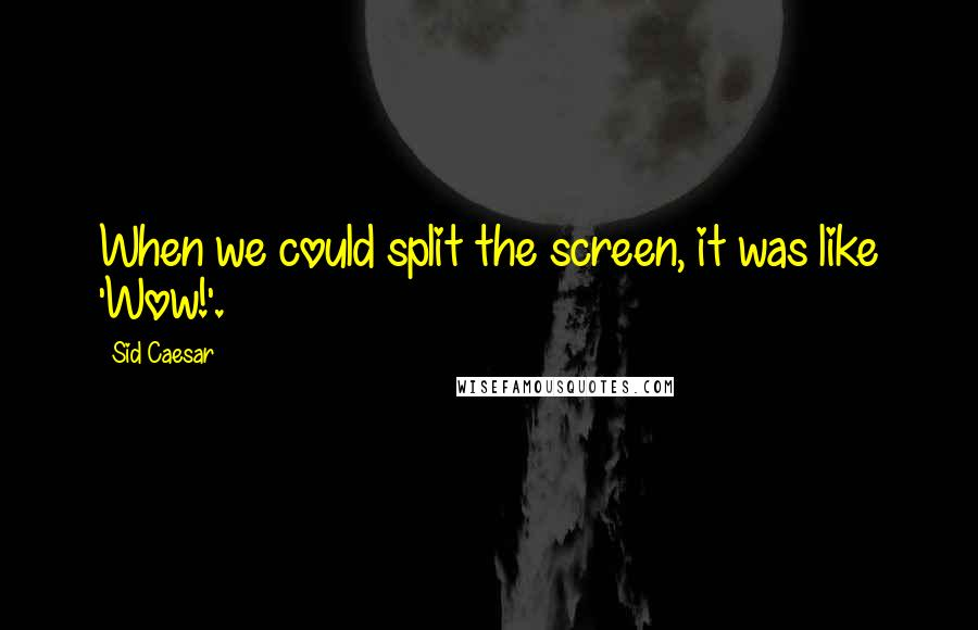 Sid Caesar quotes: When we could split the screen, it was like 'Wow!'.