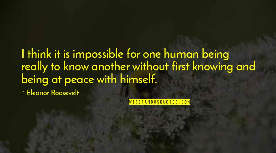 Sif 616 Quotes By Eleanor Roosevelt: I think it is impossible for one human
