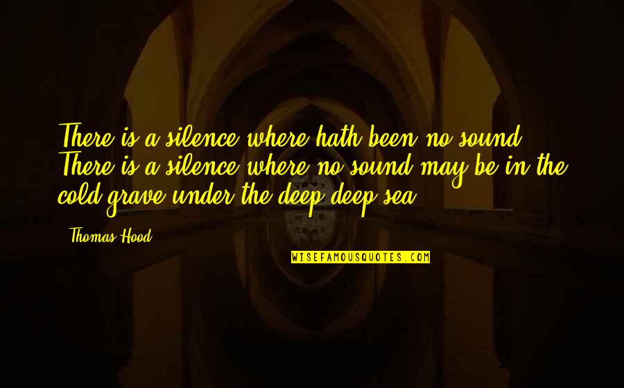 Silence Of The Sea Quotes By Thomas Hood: There is a silence where hath been no