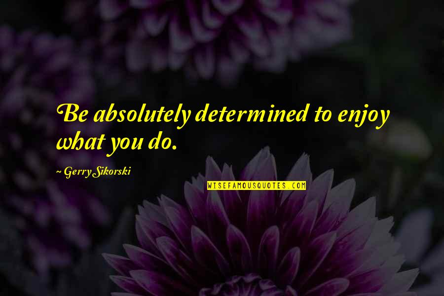 Silicon Valley Dinesh Quotes By Gerry Sikorski: Be absolutely determined to enjoy what you do.
