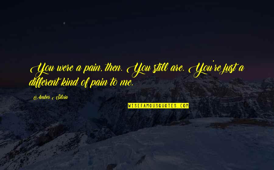 Silvia's Quotes By Amber Silvia: You were a pain, then. You still are.