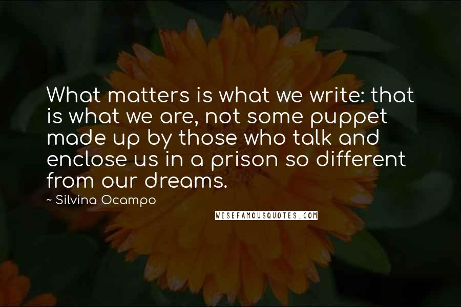 Silvina Ocampo quotes: What matters is what we write: that is what we are, not some puppet made up by those who talk and enclose us in a prison so different from our