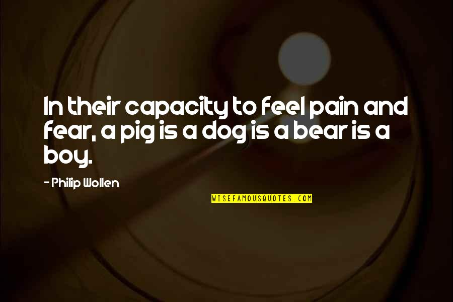 Similarity Difference Quotes By Philip Wollen: In their capacity to feel pain and fear,