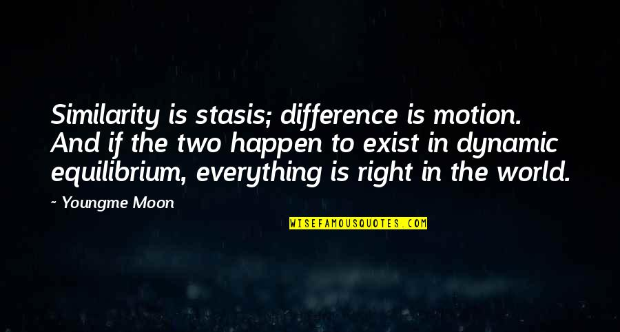 Similarity Difference Quotes By Youngme Moon: Similarity is stasis; difference is motion. And if