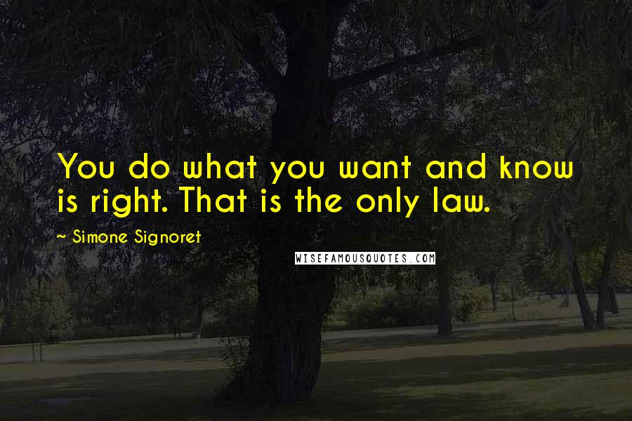 Simone Signoret quotes: You do what you want and know is right. That is the only law.