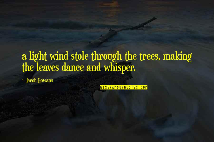 Simphiwe Masiza Quotes By Jacob Gowans: a light wind stole through the trees, making