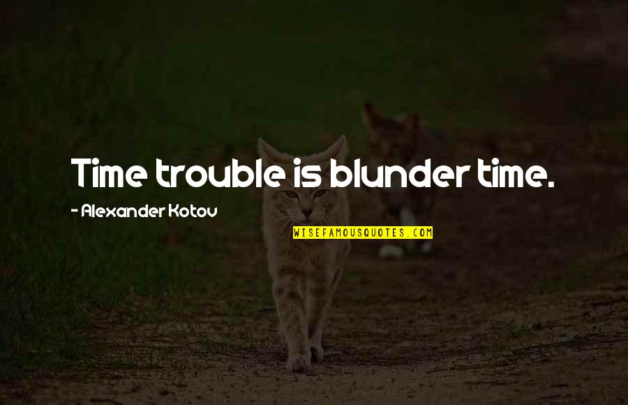 Simple Lifestyle Quotes By Alexander Kotov: Time trouble is blunder time.