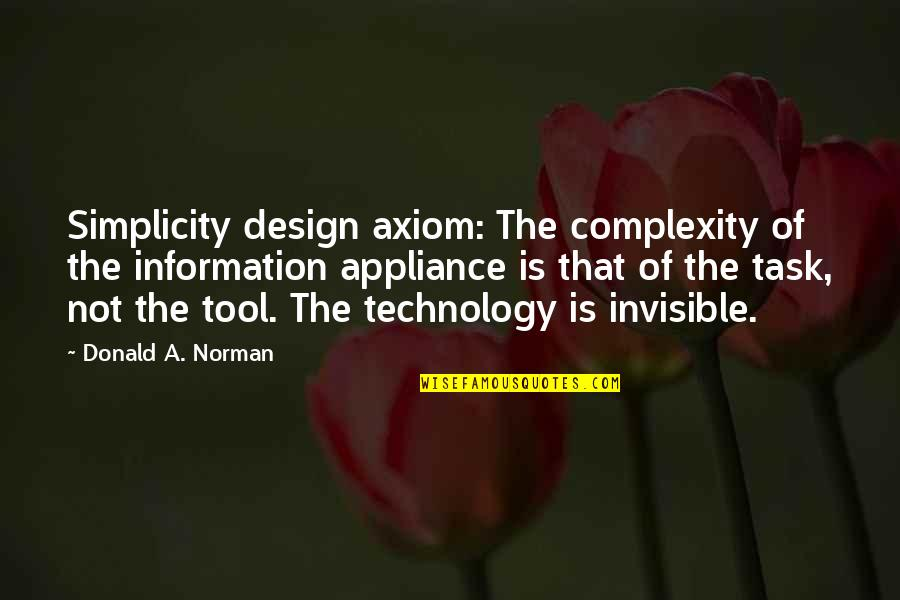 Simplicity And Complexity Quotes By Donald A. Norman: Simplicity design axiom: The complexity of the information