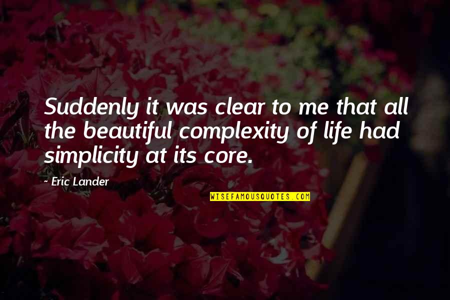 Simplicity And Complexity Quotes By Eric Lander: Suddenly it was clear to me that all