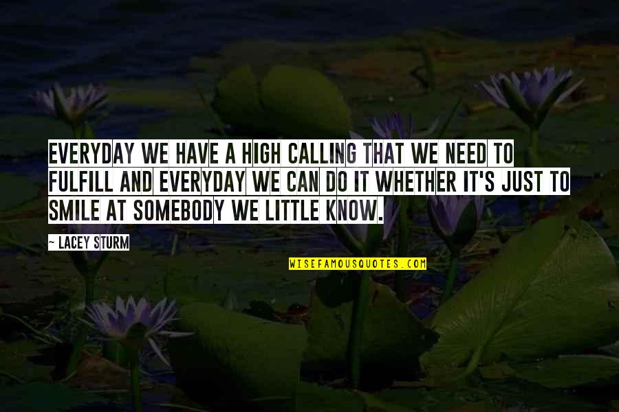 Simplicity And Life Quotes By Lacey Sturm: Everyday we have a high calling that we