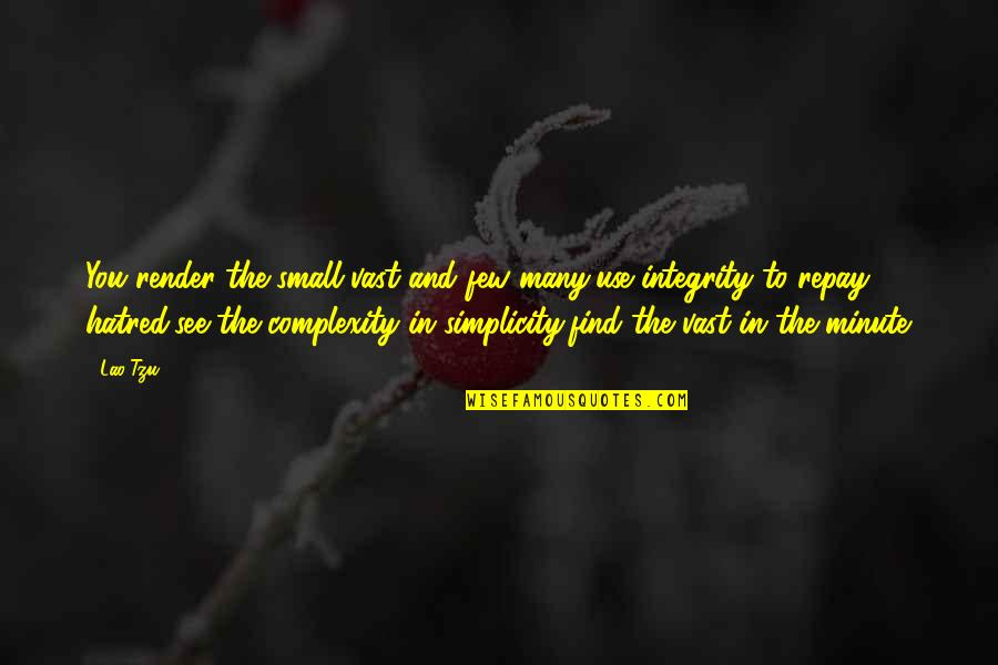 Simplicity And Life Quotes By Lao-Tzu: You render the small vast and few many,use