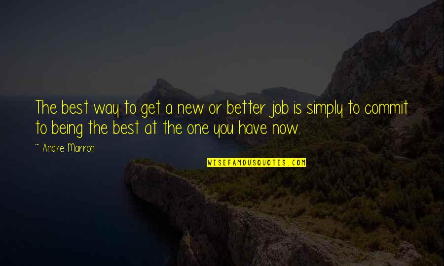 Simply The Best Quotes By Andre Marron: The best way to get a new or