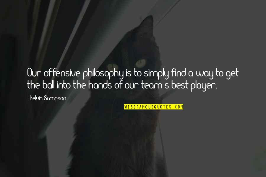 Simply The Best Quotes By Kelvin Sampson: Our offensive philosophy is to simply find a
