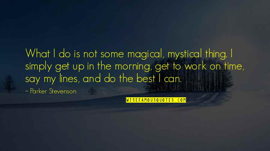 Simply The Best Quotes By Parker Stevenson: What I do is not some magical, mystical