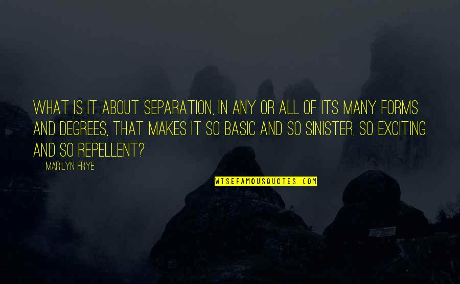 Sinister Quotes By Marilyn Frye: What is it about separation, in any or