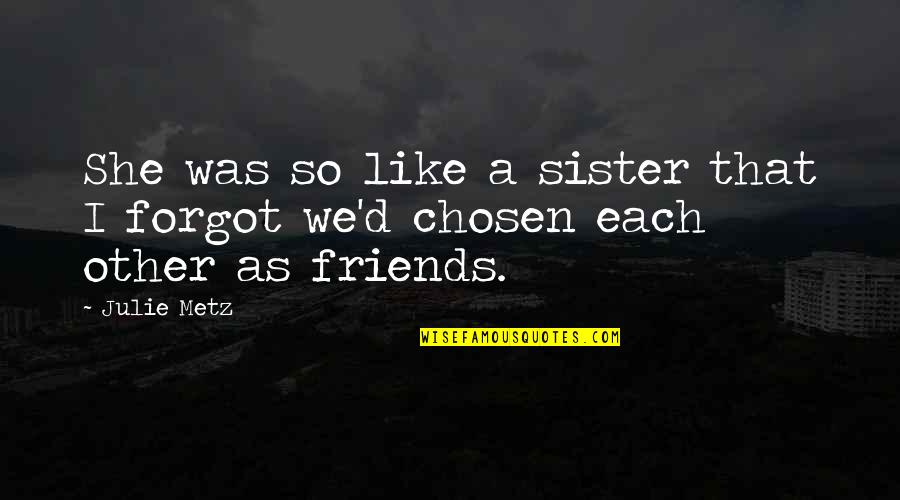 Sister Friends Quotes By Julie Metz: She was so like a sister that I