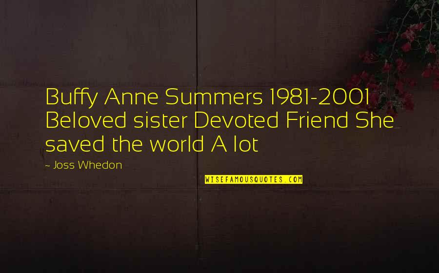 Sister My Friend Quotes By Joss Whedon: Buffy Anne Summers 1981-2001 Beloved sister Devoted Friend