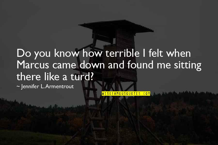 Sitting Down Quotes By Jennifer L. Armentrout: Do you know how terrible I felt when