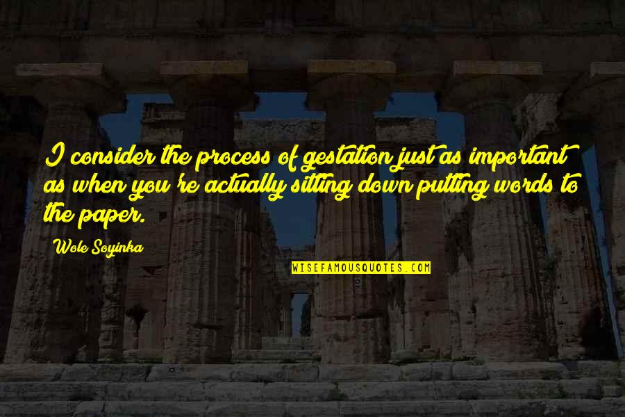 Sitting Down Quotes By Wole Soyinka: I consider the process of gestation just as