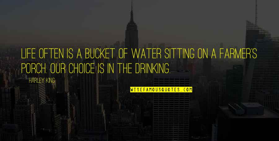 Sitting On The Porch Quotes By Harley King: Life often is a bucket of water sitting