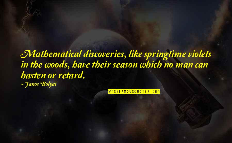 Skiffs Quotes By Janos Bolyai: Mathematical discoveries, like springtime violets in the woods,