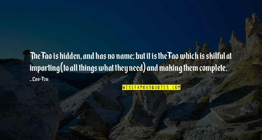 Skilful Quotes By Lao-Tzu: The Tao is hidden, and has no name;