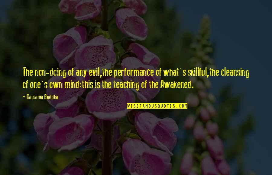 Skillful Quotes By Gautama Buddha: The non-doing of any evil,the performance of what's